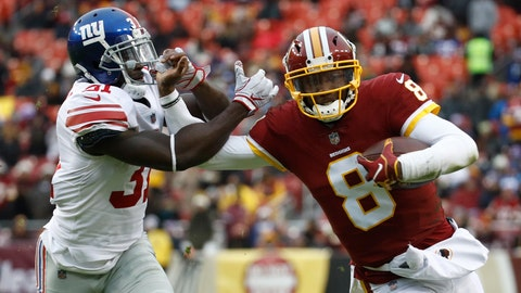 <p>               Washington Redskins quarterback Josh Johnson (8) tries to get away from New York Giants defensive back Michael Thomas (31) during the second half of an NFL football game Sunday, Dec. 9, 2018, in Landover, Md. (AP Photo/Patrick Semansky)             </p>
