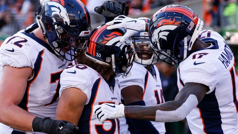 <p>               Denver Broncos running back Phillip Lindsay (30) celebrates his touchdown with his teammates in the first half of an NFL football game against the Cincinnati Bengals, Sunday, Dec. 2, 2018, in Cincinnati. (AP Photo/Gary Landers)             </p>
