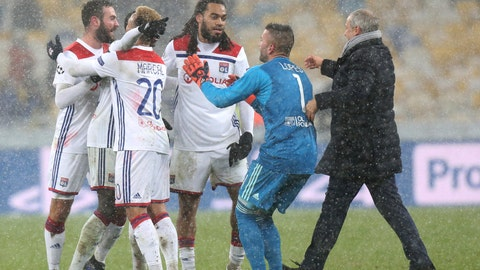 <p>               Lyon players react at the end of the Group F Champions League soccer match between Shakhtar Donetsk and Lyon at the Olympiyskiy stadium, in Kiev, Ukraine, Wednesday, Dec.12, 2018. (AP Photo/Efrem Lukatsky)             </p>