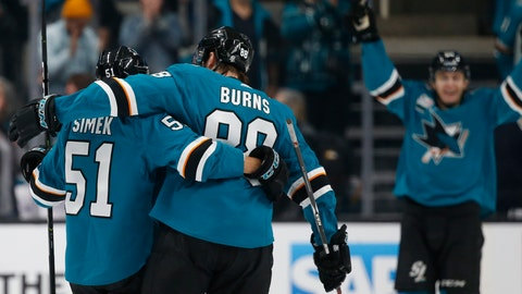 <p>               San Jose Sharks' Radim Simek (51) celebrates with Brent Burns (88) after scoring a goal against the New Jersey Devils in the second period of an NHL hockey game in San Jose, Calif., Monday, Dec. 10, 2018. (AP Photo/Josie Lepe)             </p>