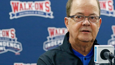 <p>               Duke football coach David Cutcliffe answers a reporter's question during the 2018 Independence Bowl news conference in Shreveport, La., Wednesday, Dec. 26, 2018. Duke faces Temple in the NCAA college football game Thursday. (Rogelio V. Solis/AP)             </p>