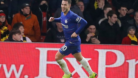 <p>               Chelsea's Eden Hazard, celebrates after scoring form penalty his side second goal during the English Premier League soccer match between Watford and Chelsea at Vicarage Road stadium in Watford, England on Wednesday, Dec. 26, 2018. (AP Photo/Frank Augstein)             </p>