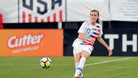 <p>               FILE - In this April 5, 2018, file photo, United States' Tierna Davidson moves the ball against the Mexico during the first half of an international friendly soccer match in Jacksonville, Fla. Davidson was recently named U.S. Soccer's Young Player of the Year. (AP Photo/John Raoux, File)             </p>