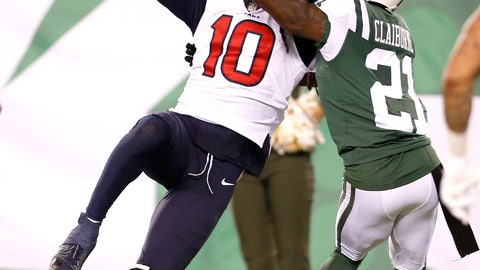 <p>               Houston Texans wide receiver DeAndre Hopkins (10) makes a touchdown catch on a pass from quarterback Deshaun Watson, not pictured, as New York Jets cornerback Morris Claiborne (21) defends during the second half of an NFL football game, Saturday, Dec. 15, 2018, in East Rutherford, N.J. The Texans won 29-22. (AP Photo/Adam Hunger)             </p>