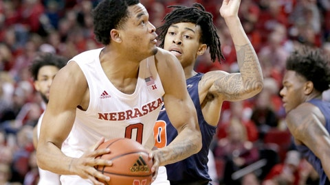 <p>               Nebraska's James Palmer Jr. (0) is defended by Cal State Fullerton's Kyle Allman Jr., rear, during the second half of an NCAA college basketball game in Lincoln, Neb., Saturday, Dec. 22, 2018. Nebraska won 86-62. (AP Photo/Nati Harnik)             </p>