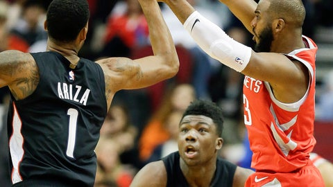<p>               Houston Rockets guard Chris Paul, right. passes the ball over Washington Wizards forward Trevor Ariza (1) during the first half of an NBA basketball game, Wednesday, Dec. 19, 2018, in Houston. (AP Photo/Eric Christian Smith)             </p>