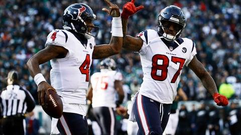 <p>               Houston Texans' Deshaun Watson (4) and Demaryius Thomas (87) celebrate after Watson's touchdown during the first half of an NFL football game against the Philadelphia Eagles, Sunday, Dec. 23, 2018, in Philadelphia. (AP Photo/Matt Rourke)             </p>