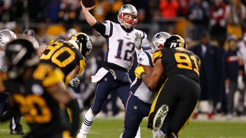 <p>               New England Patriots quarterback Tom Brady (12) throws a pass during the second half of an NFL football game against the Pittsburgh Steelers in Pittsburgh, Sunday, Dec. 16, 2018. The Steelers won 17-10. (AP Photo/Keith Srakocic)             </p>
