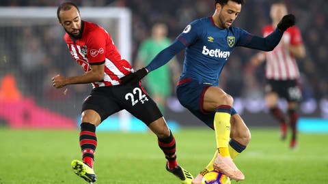 <p>               Southampton's Nathan Redmond, left and West Ham United's Felipe Anderson battle for the ball during the English Premier League soccer match between Southampton and West Ham at St Mary's, in Southampton, England, Thursday, Dec. 27, 2018. (Andrew Matthews/PA via AP)             </p>