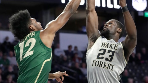 <p>               Wake Forest's Chaundee Brown (23) shoots over Charlotte's Malik Martin (12) in the first half of an NCAA college basketball game in Winston-Salem, N.C., Thursday, Dec. 6, 2018. (AP Photo/Chuck Burton)             </p>