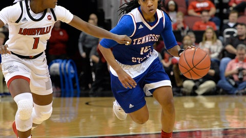 <p>               Tennessee State guard Lauren Elliott (10) attempts to drive past the defense of Louisville guard Dana Evans (1) during the first half of an NCAA college basketball game, in Louisville, Ky., Sunday, Dec. 2, 2018. (AP Photo/Timothy D. Easley)             </p>