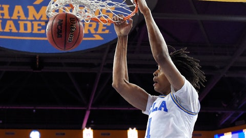 <p>               UCLA center Moses Brown dunks during the first half of an NCAA college basketball game against Loyola Marymount Sunday, Dec. 2, 2018, in Los Angeles. (AP Photo/Mark J. Terrill)             </p>