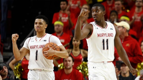 <p>               Maryland guards Anthony Cowan Jr. (1) and Darryl Morsell celebrate in the final moments of an NCAA college basketball game against Penn State, Saturday, Dec. 1, 2018, in College Park, Md. Maryland won 66-59. (AP Photo/Patrick Semansky)             </p>