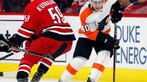 <p>               Philadelphia Flyers' Jordan Weal (40) moves the puck around Carolina Hurricanes' Janne Kuokkanen (59) during the first period of an NHL hockey game, Monday, Dec. 31, 2018, in Raleigh, N.C. (AP Photo/Karl B DeBlaker)             </p>