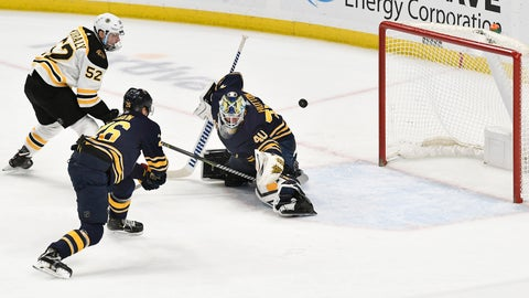 <p>               Boston Bruins center Sean Kuraly (52) puts the game-winning goal past Buffalo Sabres goalie Carter Hutton (40) as defenseman Rasmus Dahlin (26) trails the play during overtime of an NHL hockey game in Buffalo, N.Y., Saturday, Dec. 29, 2018. The Boston Bruins beat the Buffalo Sabres 3-2 in overtime. (AP Photo/Adrian Kraus)             </p>