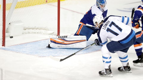 <p>               Winnipeg Jets center Adam Lowry (17) scores a goal on New York Islanders goaltender Thomas Greiss (1), of Germany, during the third period of an NHL hockey game, Tuesday, Dec. 4, 2018, in New York. The Jets won 3-1. (AP Photo/Julio Cortez)             </p>