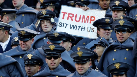 <p>               FILE - In this Saturday, Dec. 8, 2018, file photo, an Army cadet displays a sign for then President-elect Donald Trump in the first half of the Army-Navy NCAA college football game in Baltimore. President Trump will attend the Army-Navy football game, Saturday, Dec. 8, 2018, in Philadelphia. (AP Photo/Patrick Semansky, File)             </p>