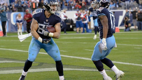 <p>               FILE - In this Sunday, Dec. 2, 2018, file photo, Tennessee Titans tight end Anthony Firkser (86) celebrates with wide receiver Cameron Batson (17) after Firkser scored a touchdown against the New York Jets in the first half of an NFL football game in Nashville, Tenn. Firkser could be working in banking or finance, maybe even on Wall Street with an applied mathematics degree earned at Harvard. Luckily for the Titans, the converted wide receiver is playing tight end in Tennessee. (AP Photo/Mark Zaleski, File)             </p>