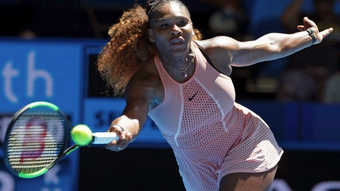 <p>               Serena Williams of the United States plays a shot during her match against Maria Sakkari of Greece at the Hopman Cup in Perth, Australia, Monday, Dec. 31, 2018. (AP Photo/Trevor Collens)             </p>