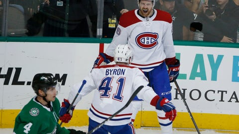 <p>               Montreal Canadiens defenseman Jeff Petry (26) celebrates his winning goal with left wing Paul Byron (41) as Dallas Stars defenseman Miro Heiskanen (4) skates away during the overtime period of an NHL hockey game in Dallas, Monday, Dec. 31, 2018. (AP Photo/Michael Ainsworth)             </p>