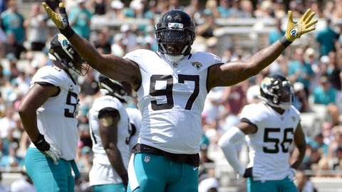 <p>               FILE - In this Sept. 23, 2018, file photo, Jacksonville Jaguars defensive tackle Malik Jackson (97) gestures during the first half of an NFL football game against the Tennessee Titans in Jacksonville, Fla. Jackson is no longer a starter and his playing time is dwindling, clear signs his tenure in Jacksonville is nearing an end. (AP Photo/Phelan M. Ebenhack)             </p>