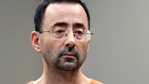 <p>               FILE - In this Nov. 22, 2017, file photo, Larry Nassar, a sports doctor accused of molesting girls while working for USA Gymnastics and Michigan State University appears in court in Lansing, Mich., where he pleaded guilty to multiple charges of sexual assault. USA Gymnastics has filed a Chapter 11 bankruptcy petition on Wednesday, Dec. 5, 2018, as it attempts to reach settlements in the dozens of sex-abuse lawsuits it faces and to forestall its potential demise at the hands of the U.S. Olympic Committee. USA Gymnastics faces 100 lawsuits representing 350 athletes in various courts across the country who blame the group for failing to supervise Larry Nassar, a team doctor accused of molesting them. (AP Photo/Paul Sancya, File)             </p>