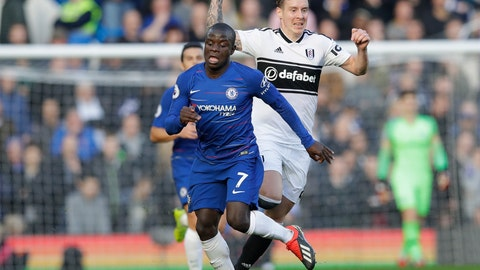 <p>               Chelsea's N'Golo Kante, left, challenges for the ball with Fulham's Stefan Johansen during the English Premier League soccer match between Chelsea and Fulham at Stamford Bridge stadium in London, Sunday, Dec. 2, 2018. (AP Photo/Kirsty Wigglesworth)             </p>