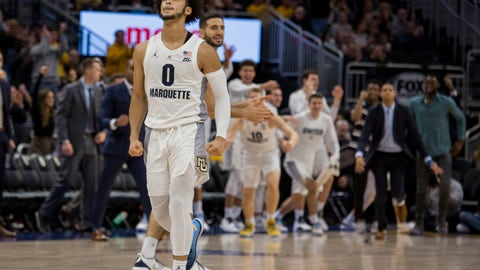 <p>               Marquette  guard Markus Howard reacts after a basket against Kansas State during the second half of an NCAA basketball game Saturday, Dec. 1, 2018, in Milwaukee. (AP Photo/Darren Hauck)             </p>