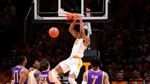 <p>               Tennessee Yves Pons (35) dunks the ball against Tennessee Tech in the second half of an NCAA college basketball game Saturday, Dec. 29, 2018, in Knoxville, Tenn.  (AP Photo/Shawn Millsaps)             </p>