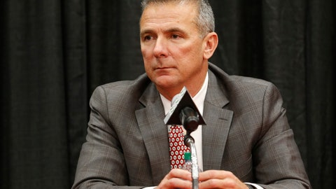 <p>               Ohio State NCAA college football head coach Urban Meyer answers questions during a news conference announcing his retirement Tuesday, Dec. 4, 2018, in Columbus, Ohio. (AP Photo/Jay LaPrete)             </p>