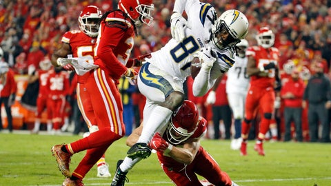 <p>               FILE - In this Thursday, Dec. 13, 2018, file photo, Los Angeles Chargers wide receiver Mike Williams (81) runs into the end zone for a touchdown between Kansas City Chiefs defensive back Daniel Sorensen, right, and safety Ron Parker, left, during the second half of an NFL football game in Kansas City, Mo. One year after being the seventh overall pick, Williams is showing why he was a first-round pick by the Chargers. (AP Photo/Charlie Riedel, File)             </p>