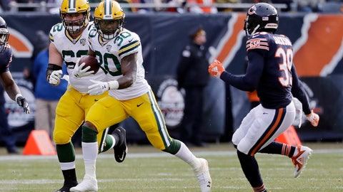 <p>               Green Bay Packers running back Jamaal Williams (30) runs against Chicago Bears defensive back Eddie Jackson (39) during the first half of an NFL football game against the Chicago Bears Sunday, Dec. 16, 2018, in Chicago. (AP Photo/Nam Y. Huh)             </p>
