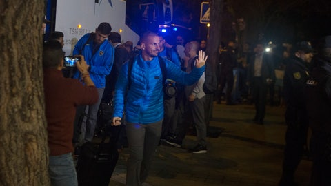 <p>               Boca Juniors players arrive at their hotel in Madrid, Spain, Wednesday, Dec. 5, 2018. The Copa Libertadores Final will be played on Dec. 9 in Spain at Real Madrid's stadium for security reasons after River Plate fans attacked the Boca Junior team bus heading into the Buenos Aires stadium for the meeting of Argentina's fiercest soccer rivals last Saturday. (AP Photo/Paul White)             </p>