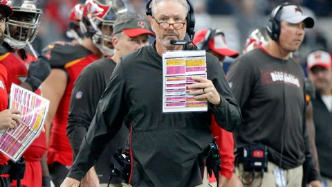 <p>               Tampa Bay Buccaneers head coach Dirk Koetter watches play against the Dallas Cowboys in the first half of an NFL football game in Arlington, Texas, Sunday, Dec. 23, 2018. (AP Photo/Michael Ainsworth)             </p>