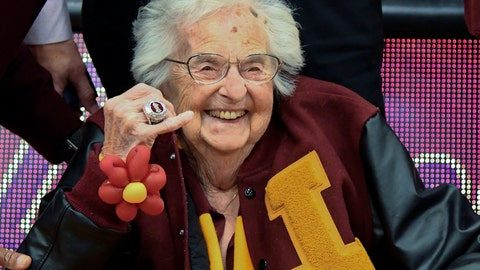 <p>               FILE- In this Nov. 27, 2018, file photo, Loyola of Chicago's Sister Jean shows off the NCAA Final Four ring she received before an NCAA college basketball game between Loyola of Chicago and Nevada in Chicago. (AP Photo/Matt Marton, File)             </p>