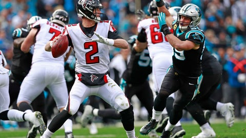 <p>               Atlanta Falcons' Matt Ryan (2) looks to pass under pressure from Carolina Panthers' Luke Kuechly (59) during the first half of an NFL football game in Charlotte, N.C., Sunday, Dec. 23, 2018. (AP Photo/Jason E. Miczek)             </p>