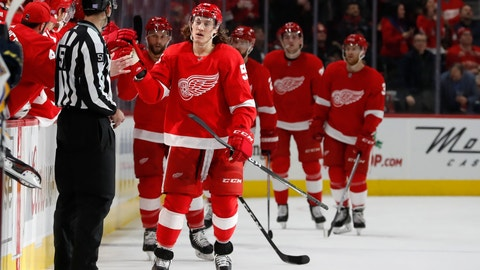 <p>               Detroit Red Wings left wing Tyler Bertuzzi is congratulated by teammates after scoring during the second period of an NHL hockey game against the St. Louis Blues, Wednesday, Nov. 28, 2018, in Detroit. (AP Photo/Carlos Osorio)             </p>