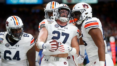 <p>               FILE - In this Jan. 2, 2017, file photo, Auburn fullback Chandler Cox (27) celebrates his touchdown carry with teammates in the first half of the Sugar Bowl NCAA college football game against Oklahoma in New Orleans. The overall graduation rates for athletes on bowl-bound FBS football programs continues to climb, though the disparity in the rates between white and African-American players widened slightly, according to  a study released on Monday, Dec. 3, 2018. (AP Photo/Gerald Herbert, File)             </p>