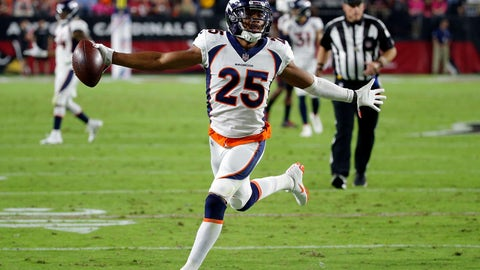 <p>               FILE- In this Oct. 18, 2018, file Denver Broncos cornerback Chris Harris Jr. (25) celebrates his interception for a touchdown against the Arizona Cardinals during the first half of an NFL football game in Glendale, Ariz. With Denver out of playoff contention and facing a slew of injuries at the position, the Broncos placed star cornerback Chris Harris Jr. on injured reserve and signed free agent Craig Mager, who was released by the Chargers earlier this season. Harris sustained a chip fracture in his lower right leg two weeks ago.  (AP Photo/Rick Scuteri, File)             </p>