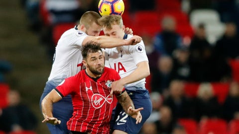 <p>               Tottenham's Eric Dier, left, Tottenham's Oliver Skipp, right, and Southampton's Charlie Austin challenge for the ball during the English Premier League soccer match between Tottenham Hotspur and Southampton at Wembley Stadium in London, Wednesday, Dec. 5, 2018. (AP Photo/Frank Augstein)             </p>
