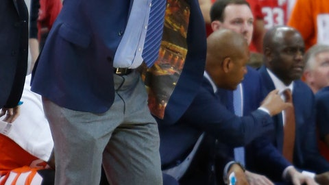 <p>               Syracuse head coach Jim Boeheim questions a referee's call during the first half of an NCAA college basketball game against Ohio State Wednesday, Nov. 28, 2018, in Columbus, Ohio. Syracuse beat Ohio State 72-62. (AP Photo/Jay LaPrete)             </p>