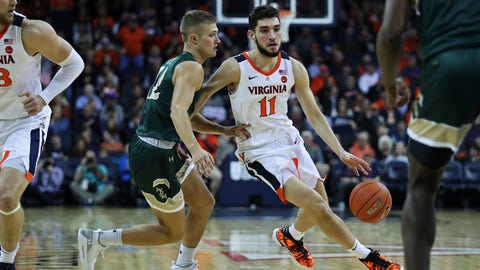 <p>               Virginia's guard Ty Jerome (11) drives around William & Mary's guard Luke Loewe (12) in the first half of an NCAA college basketball game,  Saturday, Dec. 22, 2018 in Charlottesville, Va. (AP Photo/Zack Wajsgras)             </p>