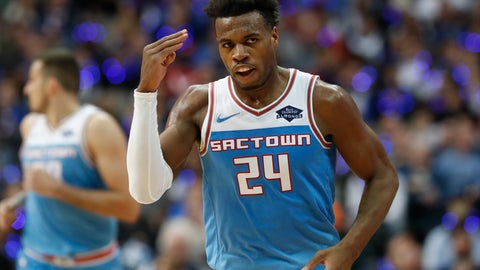 <p>               Sacramento Kings guard Buddy Hield (24) salutes after hitting a three pointer during the second half of an NBA basketball game against the Dallas Mavericks in Dallas, Sunday, Dec. 16, 2018. The Kings won 120-113. (AP Photo/LM Otero)             </p>