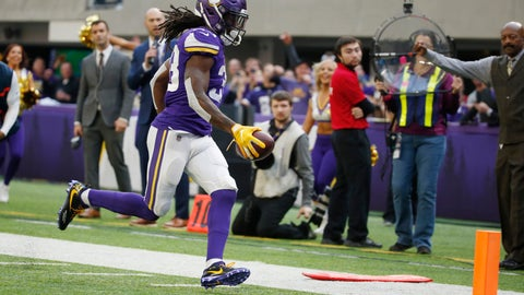 <p>               Minnesota Vikings running back Dalvin Cook scores on a 13-yard touchdown run in the first half of an NFL football game against the Miami Dolphins, Sunday, Dec. 16, 2018, in Minneapolis. (AP Photo/Bruce Kluckhohn)             </p>