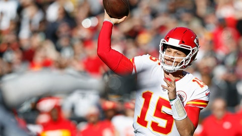 <p>               Kansas City Chiefs quarterback Patrick Mahomes (15) passes against the Oakland Raiders during the first half of an NFL football game in Oakland, Calif., Sunday, Dec. 2, 2018. (AP Photo/D. Ross Cameron)             </p>