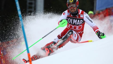 <p>               Austria's Marcel Hirscher competes during a ski World Cup Men's Slalom, in Madonna Di Campiglio, Italy, Saturday, Dec. 22, 2018. (AP Photo/Alessandro Trovati)             </p>