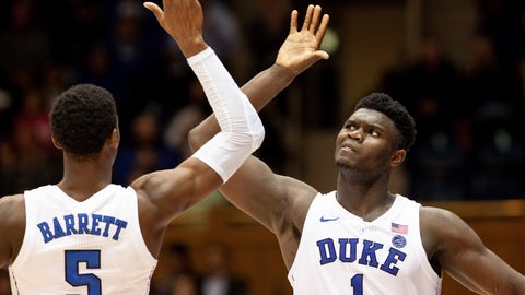 <p>               Duke's Zion Williamson (1) and RJ Barrett (5) high-five late in the second half of an NCAA college basketball game against Hartford in Durham, N.C., Wednesday, Dec. 5, 2018. (AP Photo/Ben McKeown)             </p>