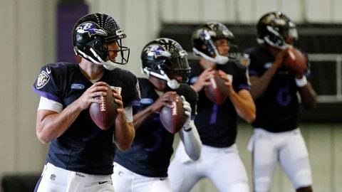 <p>               FILE - In this July 24, 2018, file photo, Baltimore Ravens quarterback Joe Flacco, left, runs a drill in front of quarterbacks Robert Griffin III, second from left, Josh Woodrum and Lamar Jackson during an NFL football training camp practice in Owings Mills, Md. Flacco has returned to the practice field for the first time since injuring his right hip on Nov. 4. Having finally received medical clearance to play, Flacco threw passes and worked on handoffs with fellow quarterbacks Lamar Jackson and Robert Griffin III during an indoor practice Thursday, Nov. 29, 2018. (AP Photo/Patrick Semansky, File)             </p>