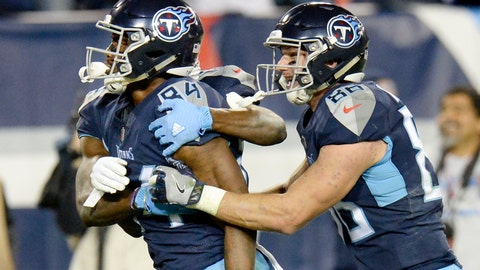 <p>               Tennessee Titans wide receiver Corey Davis (84) celebrates with tight end Anthony Firkser (86) after Davis caught the winning touchdown against the New York Jets in the fourth quarter of an NFL football game Sunday, Dec. 2, 2018, in Nashville, Tenn. The Titans won 26-22. (AP Photo/Mark Zaleski)             </p>