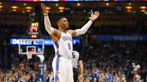 <p>               Oklahoma City Thunder guard Russell Westbrook hypes up the crowd in the first half of an NBA basketball game against the Chicago Bulls in Oklahoma City, Monday, Dec. 17, 2018. (AP Photo/Kyle Phillips)             </p>